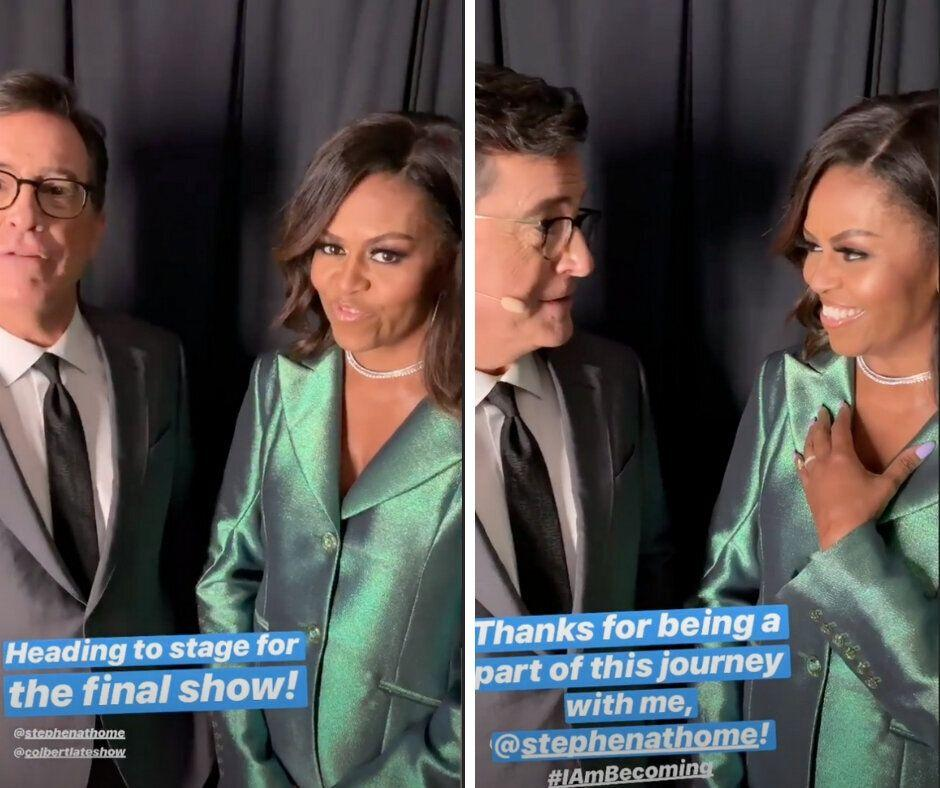 Stephen Colbert and Michelle Obama speaking before the final stop on her book tour. (Photo: Michelle Obama/Instagram)
