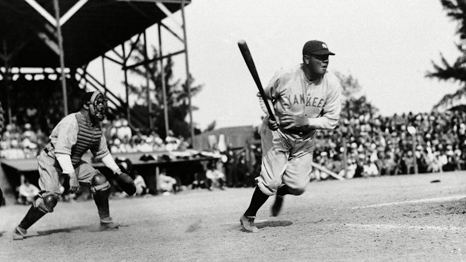 Mandatory Credit: Photo by AP/Shutterstock (6673423a)Babe Ruth slams one out during exhibition game with the Boston Braves at St.
