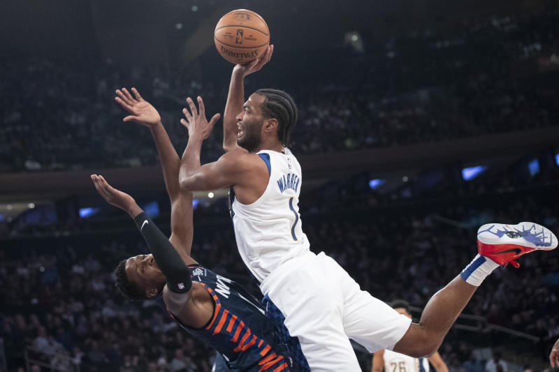 Indiana Pacers forward T.J. Warren (1) goes to the basket against New York Knicks guard Frank Ntilikina (11) in the first half of an NBA basketball game, Saturday, Dec. 7, 2019, at Madison Square Garden in New York. (AP Photo/Mary Altaffer)