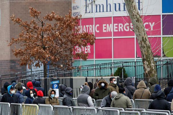PHOTO: People wait in line to be tested for coronavirus disease outside Elmhurst Hospital Center in the Queens borough of New York, March 25, 2020. (Stefan Jeremiah/Reuters)