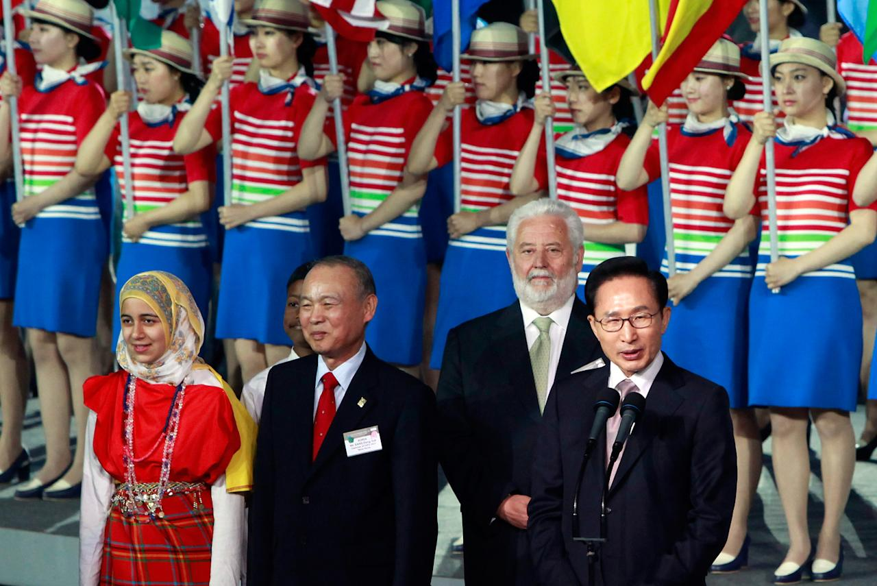 YEOSU, SOUTH KOREA - MAY 11:  South Korean President Lee Myung-Bak speaks at the opening ceremony of the 2012 Yeosu Expo on May 11, 2012 in Yeosu, South Korea. More than 105 countries, 10 International Organizations and 10 million visitors are expected to participate in the expo that will open to the public on May 12 to August 12.  (Photo by Chung Sung-Jun/Getty Images)