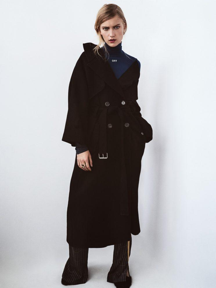 Whether it's wool or a traditional cotton, a trench coat is the perfect piece to effortlessly transition between seasons in the chicest way possible. Off-White c/o Virgil Abloh Light Turtleneck, $300, off---white.comOff-White c/o Virgil Abloh Oversized Peacoat, $1,787, off---white.comHellessy Anton Pants in Midnight, $890, hellessy.comJennifer Fisher Smooth Ring, $275, jenniferfisherjewelry.comSalvatore Ferragamo Leather Woven Heels with Mink Detail, Price Available Upon Request, Similar Styles Available at Salvatore Ferragamo Boutiques Nationwide, ferragamo.com