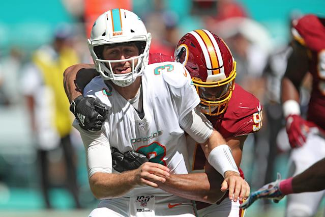 Josh Rosen had a miserable day on the field before watching Miami's comeback fall short from the sideline. (Getty)