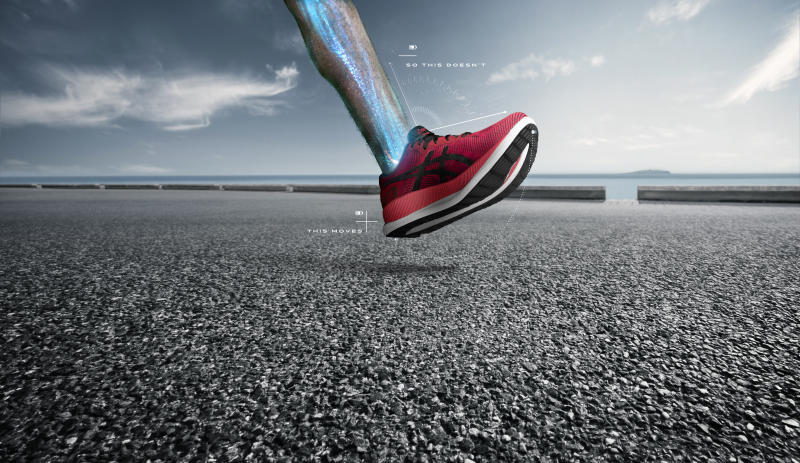 The Asics GlideRide aims to reduce energy loss and improve performance for distance runners. (Credit: ASICS).