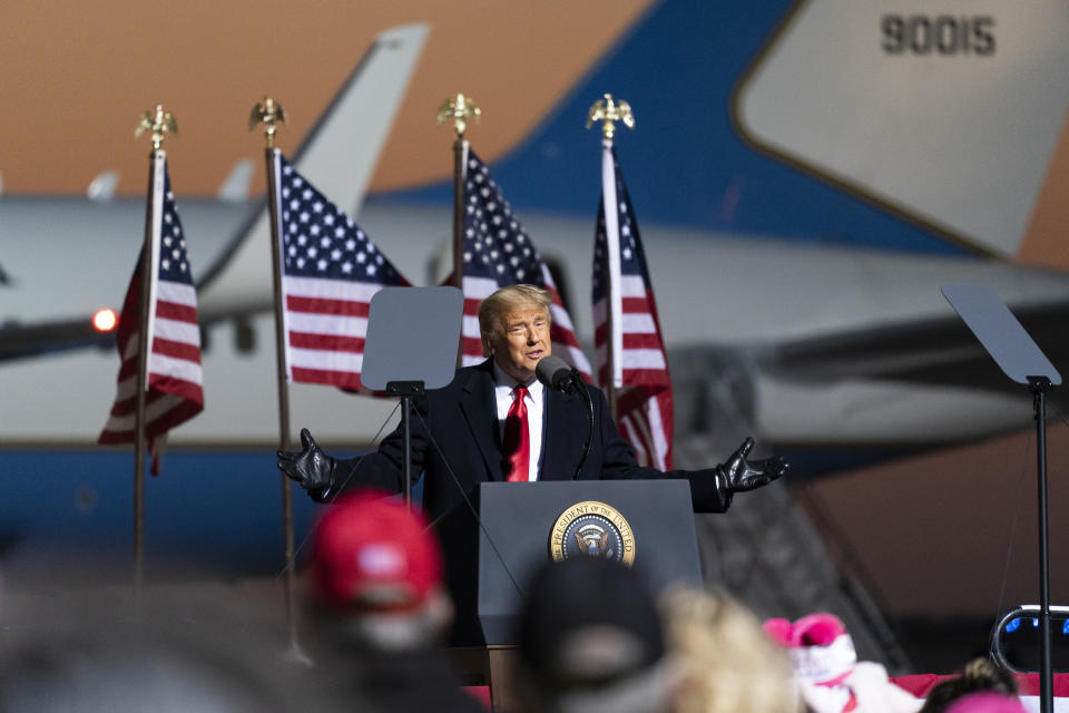 President Donald Trump speaks at a campaign rally at Rochester International Airport, Friday, Oct. 30, 2020, in Rochester, Minn. (AP Photo/Alex Brandon)