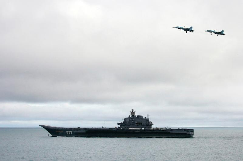 A Russian aircraft-carrier during military exercises of the North Fleet in August 2005 in the Barents Sea
