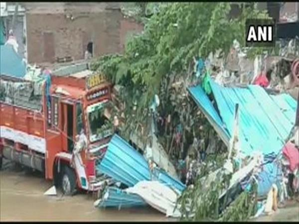 Wall collapsed after heavy rainfall in Hyderabad on Tuesday night. (Photo/ANI)