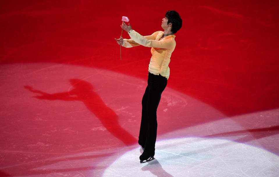 Yuzuru Hanyu of Japan performs during the Gala Exhibition at the Figure Skating World Championships in Stockholm, Sweden, Sunday, March 28, 2021. (AP Photo/Martin Meissner)