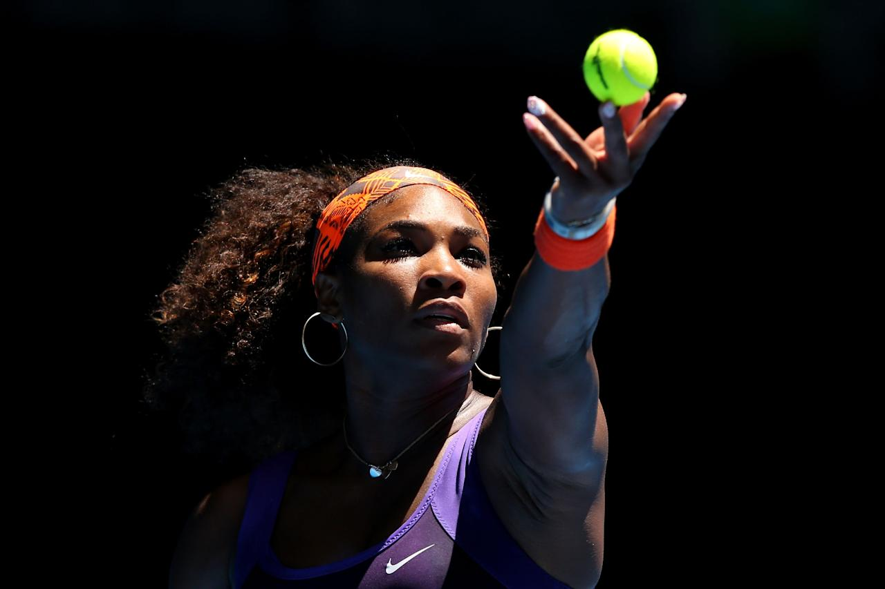 MELBOURNE, AUSTRALIA - JANUARY 15:  Serena Williams of the United States serves in her first round match against Edina Gallovits-Hall of Romania during day two of the 2013 Australian Open at Melbourne Park on January 15, 2013 in Melbourne, Australia.  (Photo by Michael Dodge/Getty Images)