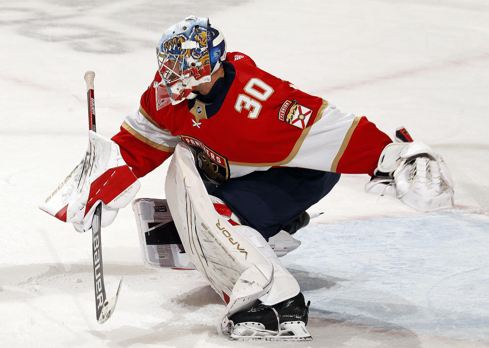 Goaltender Spencer Knight and the Panthers will try to force a Game 7 on Wednesday night. (Photo by Eliot J. Schechter/NHLI via Getty Images)
