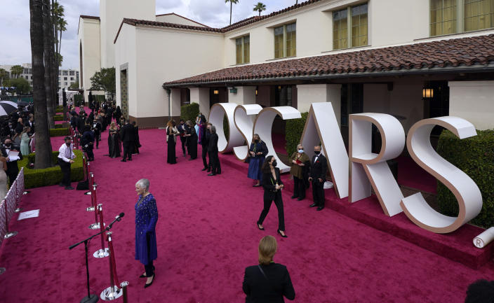 Glenn Close is interviewed on the red carpet at the Oscars on Sunday, April 25, 2021, at Union Station in Los Angeles. (AP Photo/Mark Terrill, Pool)