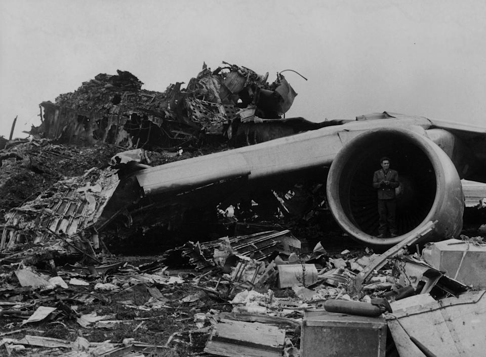 The wreckage from the Tenerife Air Disaster - GETTY