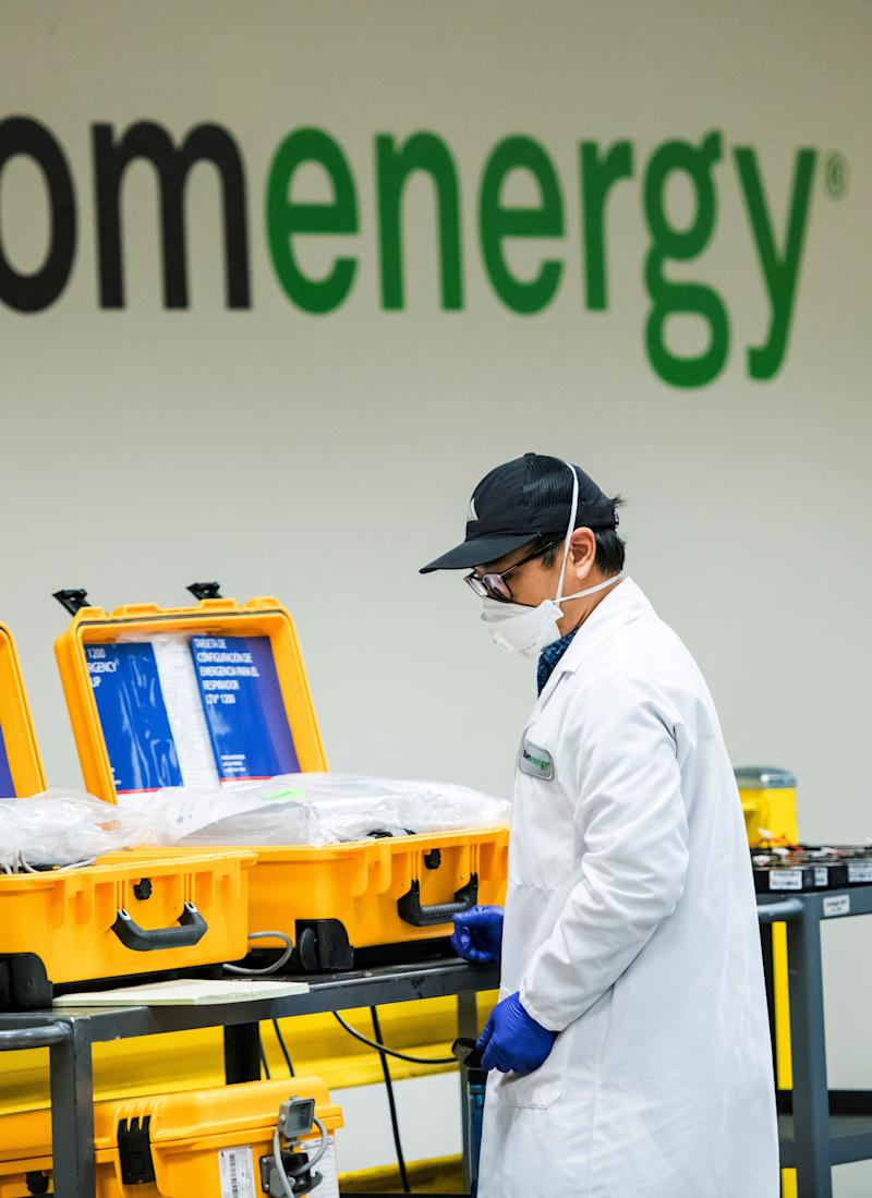 Bloom Energy, a fuel cell generator company, is now refurbishing ventilators on this assembly line shown March 28, 2020, in Sunnyvale, California.