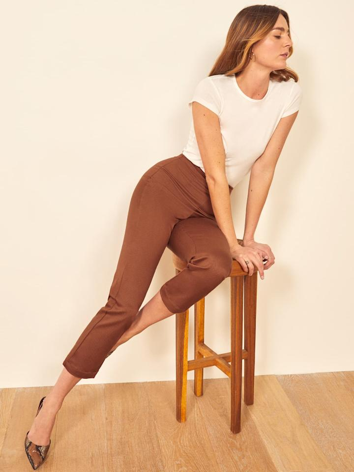 "<p>If you're into wearing neutral shades this season, no doubt you need these <a href=""https://www.popsugar.com/buy/Reformation-Marlon-Pants-349907?p_name=Reformation%20Marlon%20Pants&retailer=thereformation.com&pid=349907&price=158&evar1=fab%3Aus&evar9=47085485&evar98=https%3A%2F%2Fwww.popsugar.com%2Fphoto-gallery%2F47085485%2Fimage%2F47085711%2FReformation-Marlon-Pants&list1=shopping%2Cpants%2Cworkwear%2Cfashion%20shopping&prop13=api&pdata=1"" rel=""nofollow"" data-shoppable-link=""1"" target=""_blank"" class=""ga-track"" data-ga-category=""Related"" data-ga-label=""https://www.thereformation.com/products/marlon-pant?color=Leopard&amp;via=Z2lkOi8vcmVmb3JtYXRpb24td2VibGluYy9Xb3JrYXJlYTo6Q2F0YWxvZzo6Q2F0ZWdvcnkvNWE2YWRmZDNmOTJlYTExNmNmMDRlOWNh"" data-ga-action=""In-Line Links"">Reformation Marlon Pants</a> ($158).</p>"