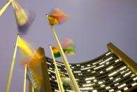 Flags flutter in the wind in front of the headquarters of the International Atomic Energy Agency (IAEA) in Vienna