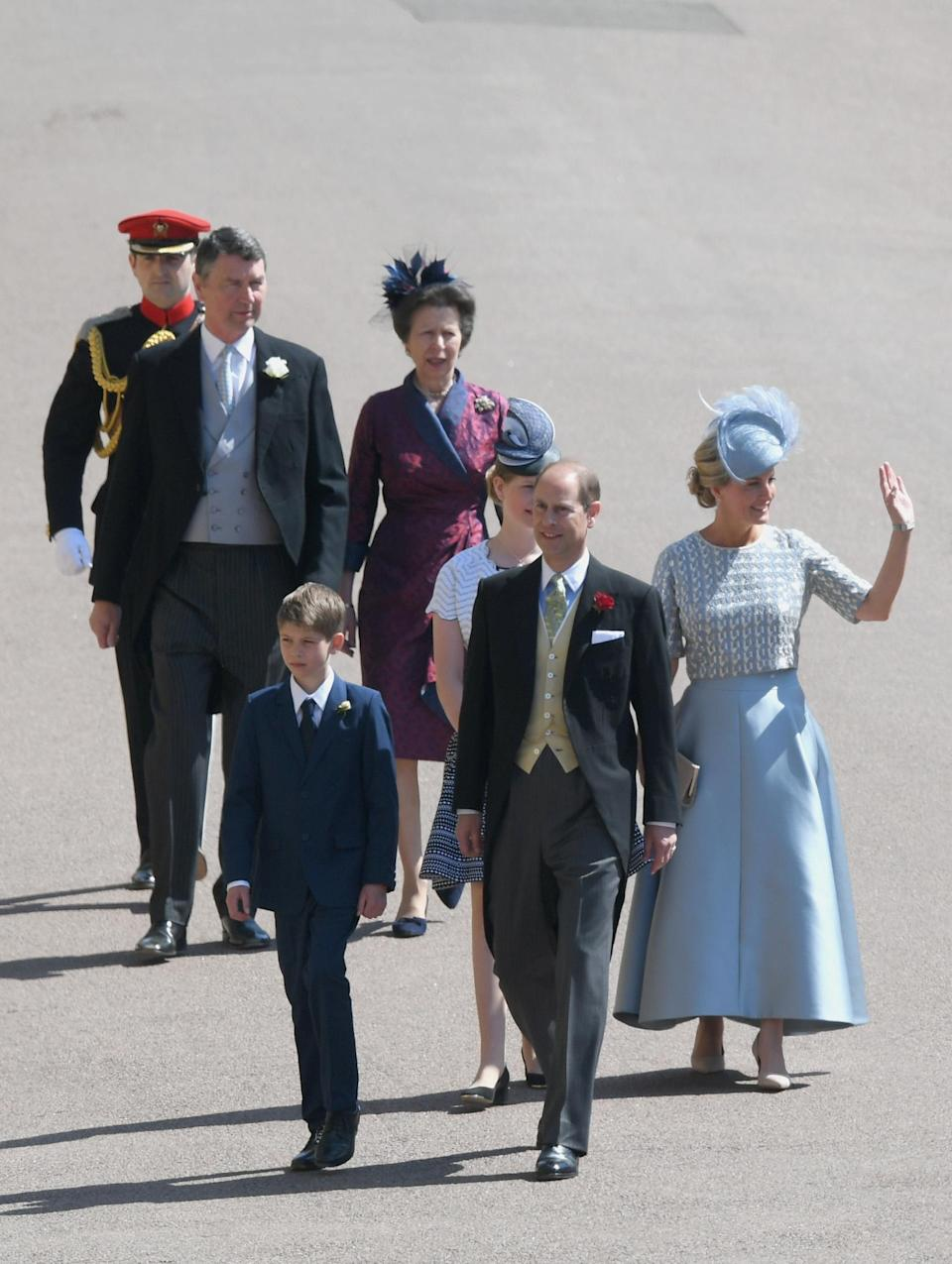 <p>The Earl of Wessex and Sophie, Countess of Wessex walk to the chapel with Princess Anne and Timothy Laurence. [Photo: Getty] </p>