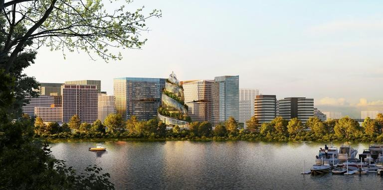 Amazon on Tuesday released an illustration of a new phase of its second headquarters being developed in Arlington, Virginia, with a double-helix structure as the centerpiece