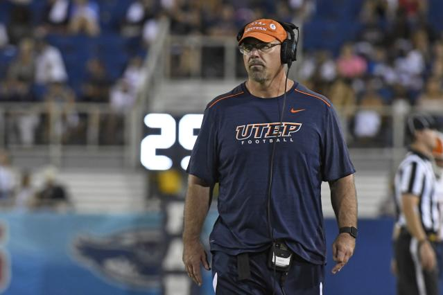 UTEP coach Sean Kugler announced his resignation Sunday. (Photo by Eric Espada/Getty Images)