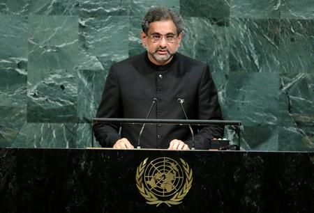 FILE PHOTO: Pakistani Prime Minister Abbasi addresses the 72nd United Nations General Assembly at U.N. headquarters in New York