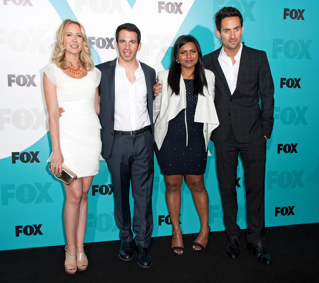 """Anna Camp, Chris Messina, Mindy Kaling, and Ed Weeks (""""The Mindy Project"""") attend the Fox 2012 Upfronts Post-Show Party on May 14, 2012 in New York City."""