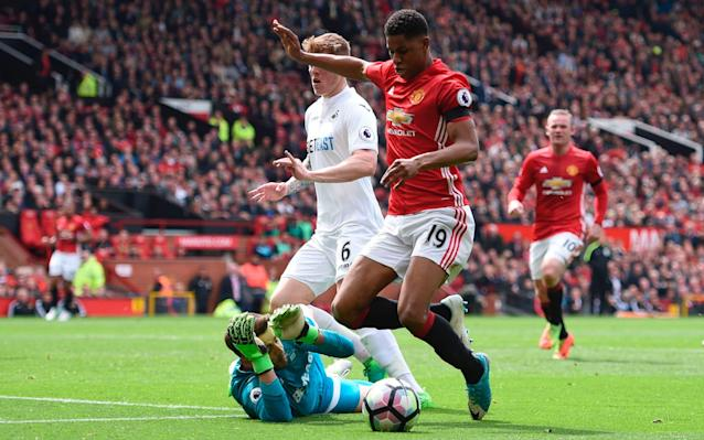 Marcus Rashford controversially wins a penalty. - AFP