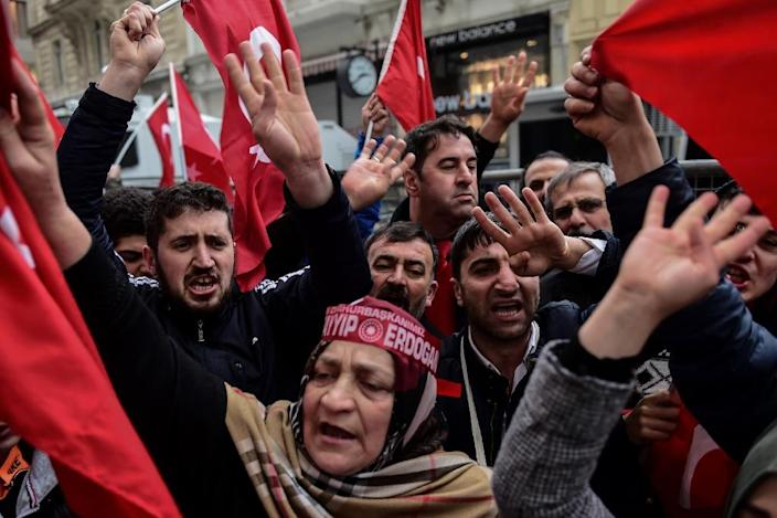 Protesters have staged demonstrations in Turkey against the decision by some European countries to stop political rallies on their soil (AFP Photo/YASIN AKGUL)