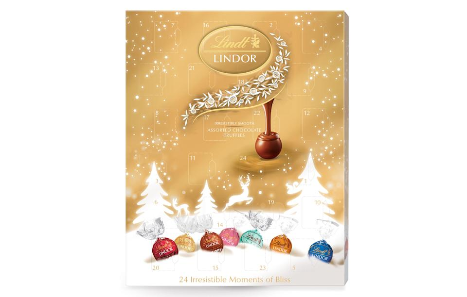 """<p>This truffle-filled selection includes 24 sumptuous chocolates from the usual milk and white to strawberries and cream, caramel and hazelnut.<br><a rel=""""nofollow noopener"""" href=""""http://www.lindt.co.uk/shop/seasonal-chocolates/advent-calendars/lindr-blissful-advent-calendar-300g"""" target=""""_blank"""" data-ylk=""""slk:Lindt, £10"""" class=""""link rapid-noclick-resp""""><i>Lindt, £10</i></a> </p>"""
