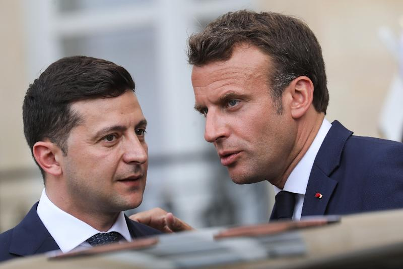 French President Emmanuel Macron says new peace talks may be possible in Ukraine under its new president Volodymyr Zelensky (AFP Photo/ludovic MARIN)