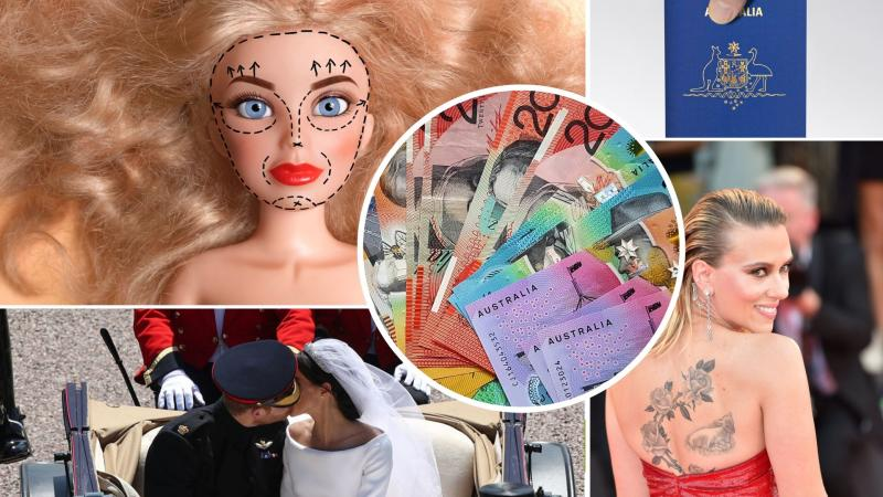 Pictured: Barbie doll with cosmetic surgery lines, Australian cash, Scarlett Johansson, Australian passport, Meghan Markle and Prince Harry wedding. Images: Getty