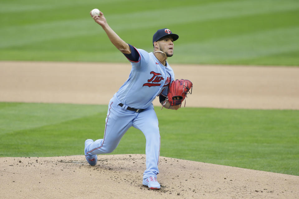 Minnesota Twins starting pitcher Jose Berrios throws to the Boston Red Sox in the first inning in the second baseball game of a doubleheader, Wednesday, April 14, 2021, in Minneapolis. (AP Photo/Andy Clayton-King)
