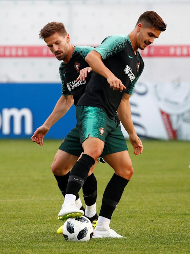 Soccer Football - World Cup - Portugal Training - Portugal Training Camp, Moscow, Russia - June 21, 2018 Portugal's Andre Silva and Adrien Silva during training REUTERS/Axel Schmidt