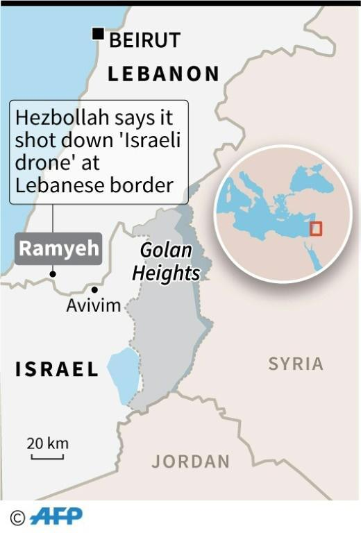 Map showing the location of the Israeli drone that Hezbollah said Monday it had shot down (AFP Photo/Omar KAMAL)