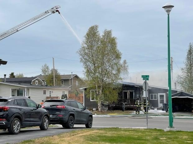 A structure fire was reported around 11 a.m. on Thursday in Yellowknife on Glick Court. (Randall McKenzie/CBC - image credit)