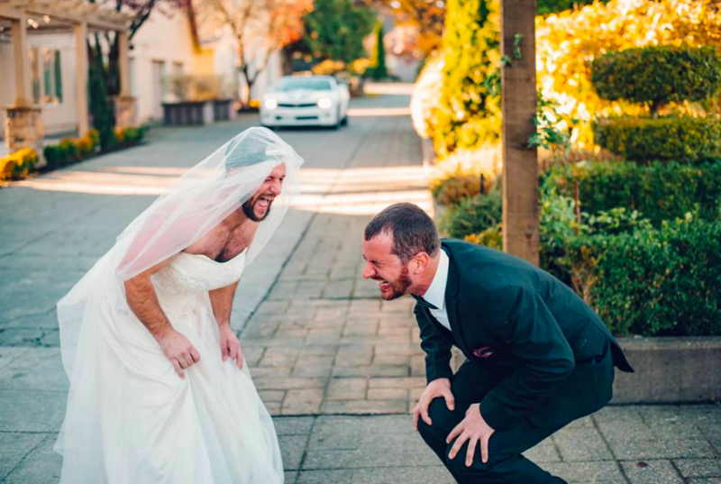 The groom and his best friend getting silly on the big day. Photo: Mega