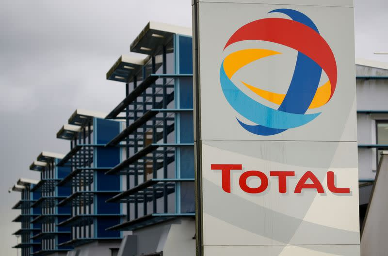 The logo of a French oil giant Total is seen at the refinery in Donges
