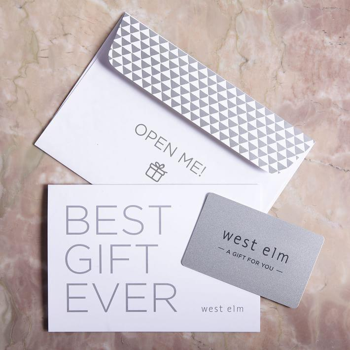"""<p><strong>West Elm</strong></p><p>westelm.com</p><p><a href=""""https://go.redirectingat.com?id=74968X1596630&url=https%3A%2F%2Fwww.westelm.com%2Fproducts%2Fgift-card&sref=https%3A%2F%2Fwww.cosmopolitan.com%2Fstyle-beauty%2Ffashion%2Fg34229001%2Fbest-gift-card-ideas-to-give%2F"""" rel=""""nofollow noopener"""" target=""""_blank"""" data-ylk=""""slk:Shop Now"""" class=""""link rapid-noclick-resp"""">Shop Now</a></p><p>These days we're spending more time than usual at home, which means you know more than a few people who have arranged and rearranged their homes more than a few times. I think you know why a home decor gift card would make a good gift for them.</p>"""