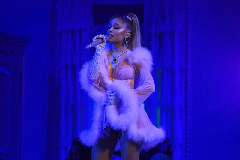 LOS ANGELES, CALIFORNIA - JANUARY 26: Ariana Grande performs onstage during the 62nd Annual GRAMMY Awards at Staples Center on January 26, 2020 in Los Angeles, California. (Photo by Kevork Djansezian/Getty Images)