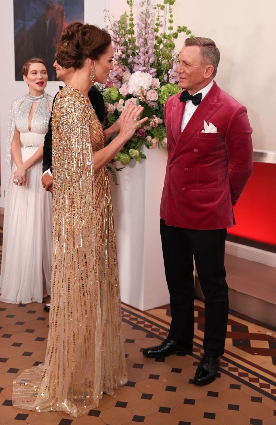 Middleton greeted James Bond star, Daniel Craig, before the premiere of