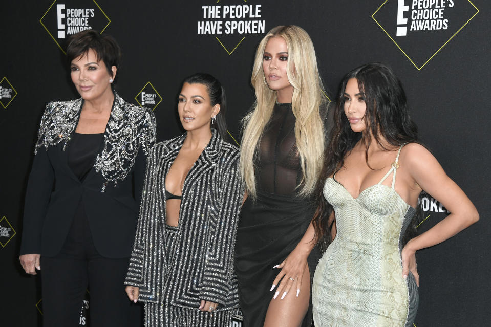Kris Jenner, Kourtney Kardashian, Khloe Kardashian and Kim Kardashian West at the 2019 E! People's Choice Awards in Santa Monica, California.