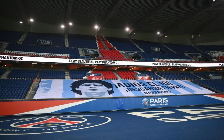 A banner at PSG's Parc des Princes in honour of Diego Maradona