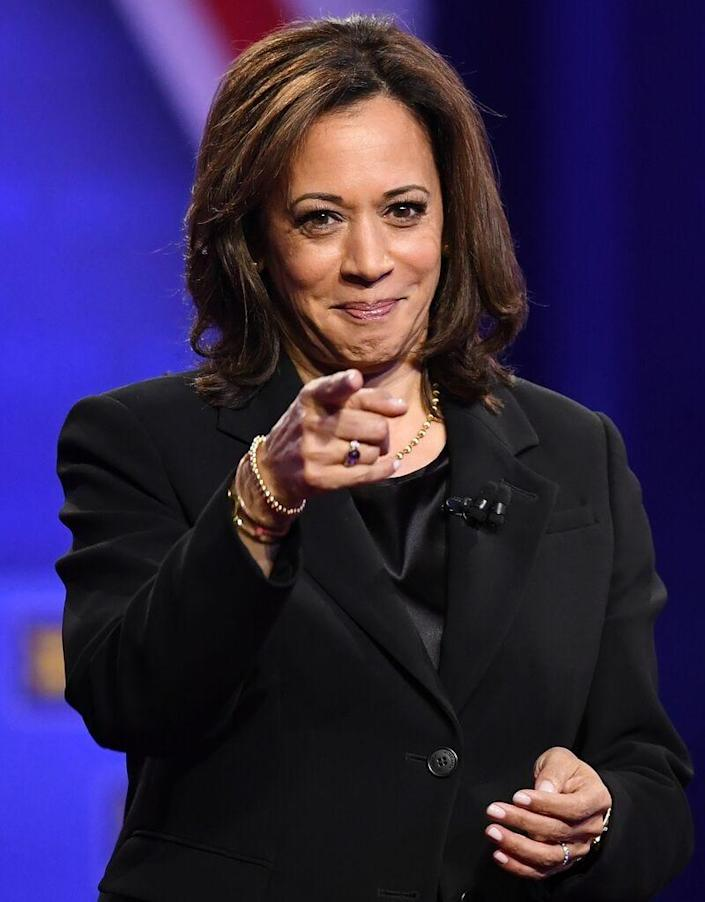 Then-Democratic presidential hopeful California Sen. Kamala Harris attends a town hall devoted to LGBTQ issues hosted by CNN and the Human rights Campaign Foundation at The Novo in Los Angeles.