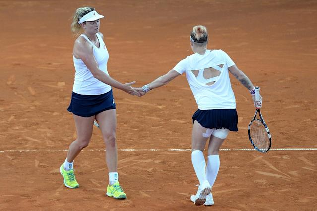 BRISBANE, AUSTRALIA - APRIL 17: Coco Vandeweghe and Bethanie Mattek-Sands of the USA celebrate winning a point during their doubles match against Daria Gavlirova and Arina Rodionova of Australia in the Fed Cup tie between Australia and the United States at Pat Rafter Arena on April 17, 2016 in Brisbane, Australia. (Photo by Bradley Kanaris/Getty Images)