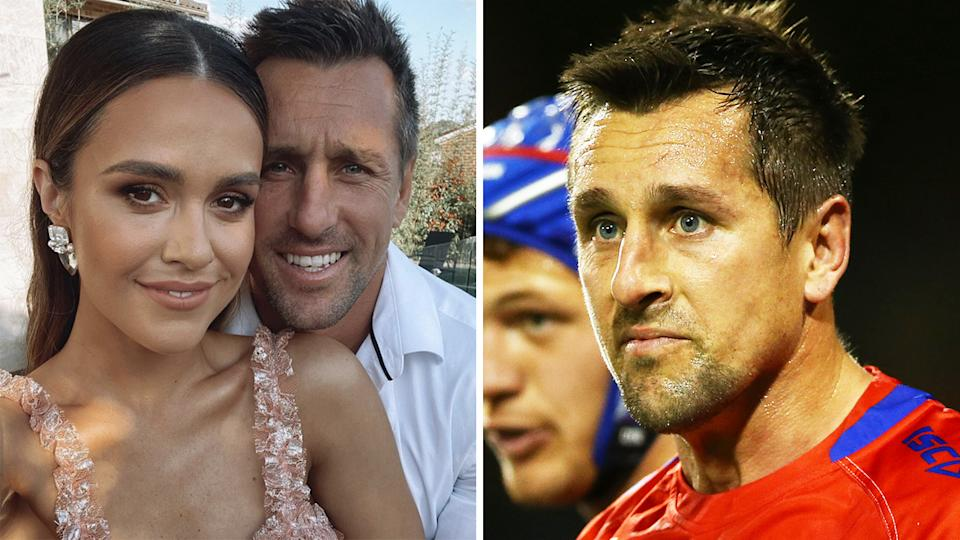 Mitchell Pearce's Newcastle teammates are are reportedly unhappy with revelations of his alleged flirty messages to a female staff member. Pictures: Instagram/Getty Images