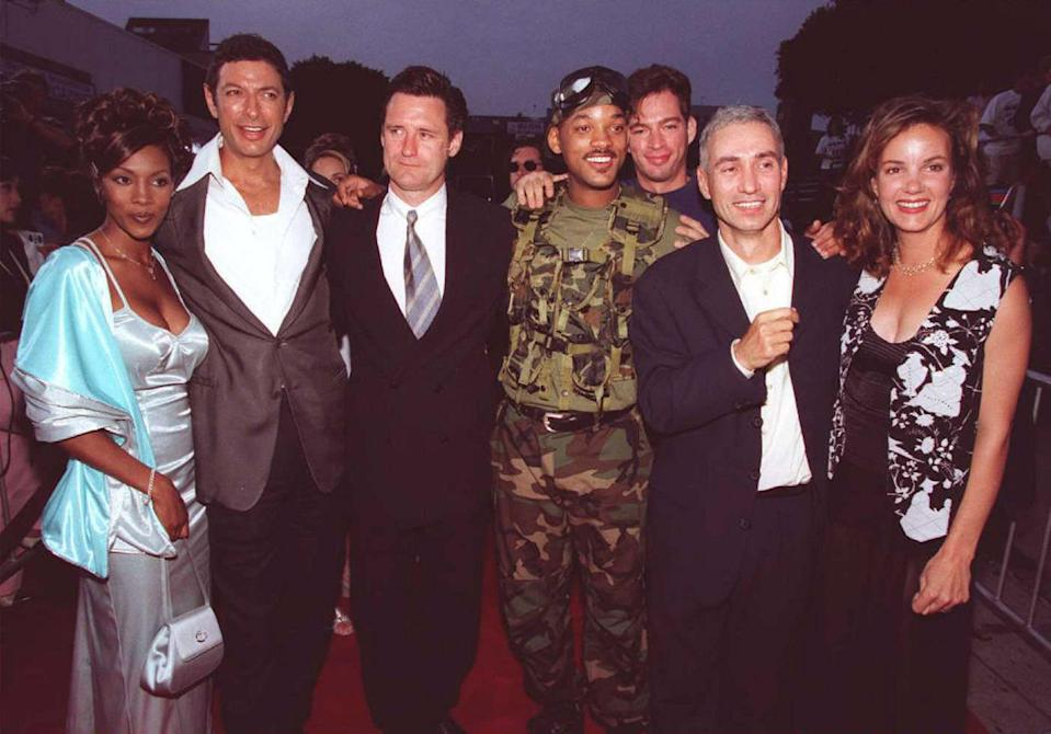 <p>Twenty-five years ago, nearly every celebrity in Hollywood turned up for the premiere of a big-budget movie about an alien invasion. The movie, <em>Independence Day,</em> opened on July 3, 1996 (though some theaters started showing the movie on July 2) and would become the highest-grossing film of the year, beating <em>Mission: Impossible</em> and <em>Twister</em>. The movie was packed with big names. It helped continue Will Smith's transformation from a sitcom star to a big-budget action hero. It gave Bill Pullman a star turn as the president/fighter pilot. It reintroduced the world to Judd Hirsch. It provided some good Jeff Goldblum fun. And, most importantly, it was a wildly enjoyable disaster flick. The L.A. premiere, which took place on July 1, was a spectacle of famous people from the '90s, as these photos show. </p>