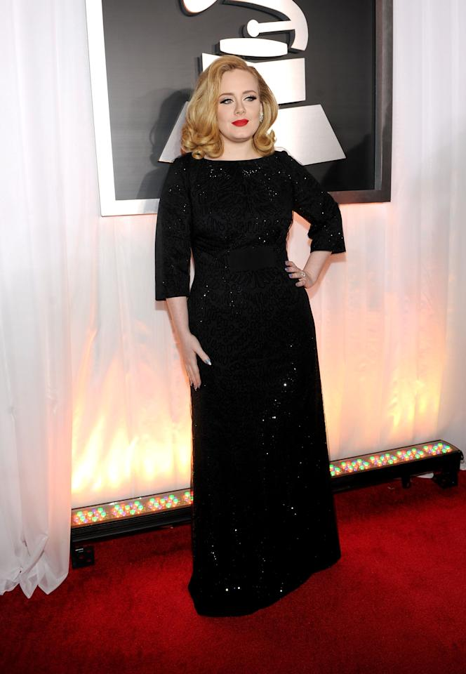 LOS ANGELES, CA - FEBRUARY 12:  Singer Adele arrives at the 54th Annual GRAMMY Awards held at Staples Center on February 12, 2012 in Los Angeles, California.  (Photo by Larry Busacca/Getty Images For The Recording Academy)