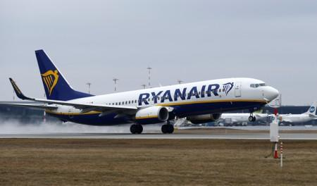 FILE PHOTO: A Ryanair Boeing 737 plane takes off at the Riga International Airport, Latvia