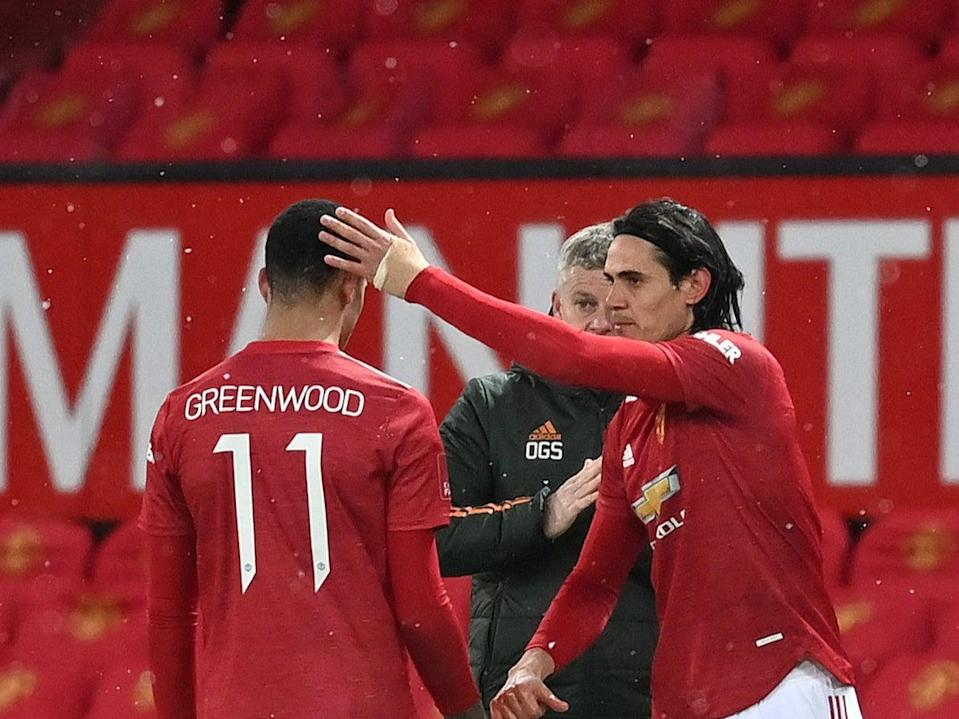 Mason Greenwood is replaced by Edinson Cavani (Getty Images)