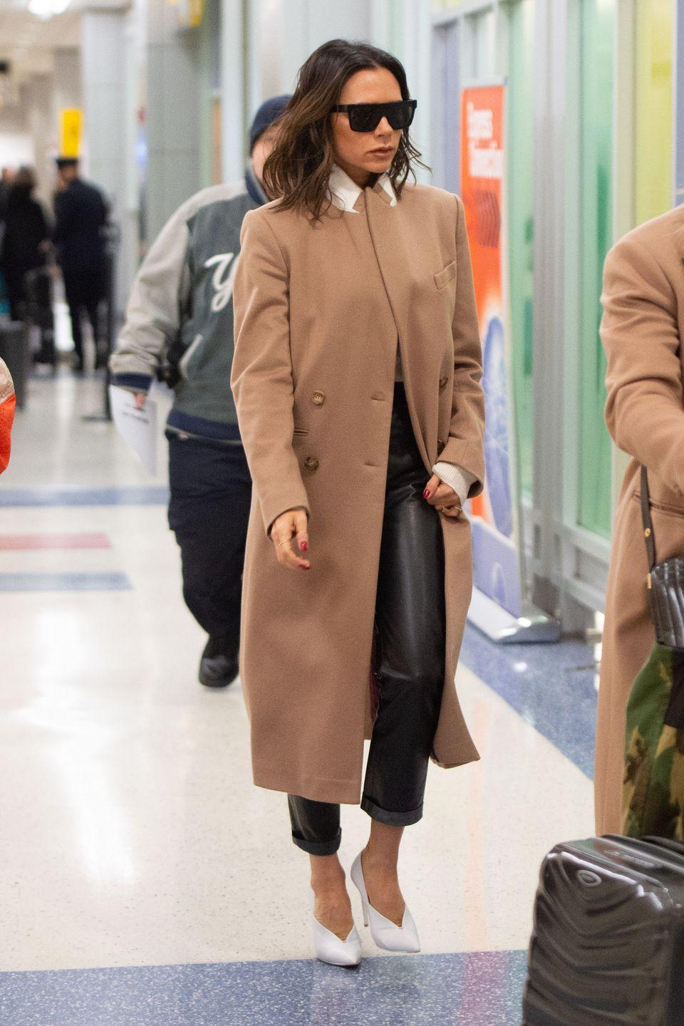 <p><strong>Victoria Beckham, 2019: </strong>Not only did the star wear white heels, she also wore <em>leather</em> bottoms. Her idea of comfort is drastically different than what most of us have in mind, but hey, she's <em>the</em> Victoria Beckham. </p>