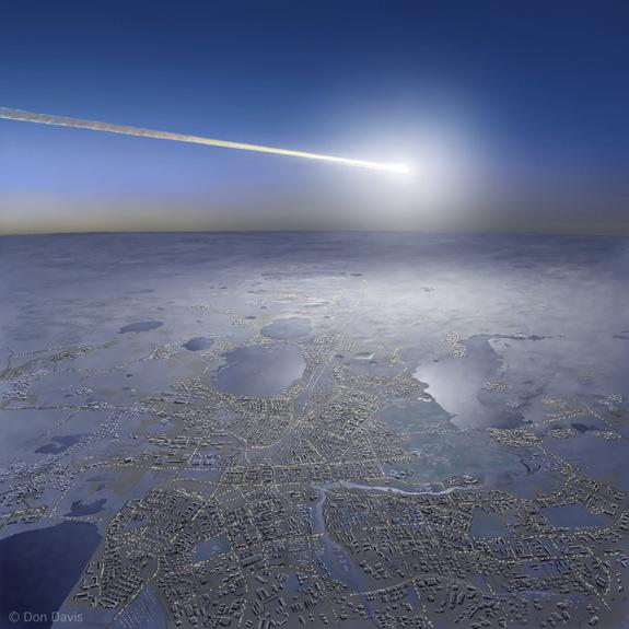"Artist's view of last year's fireball explosion over Chelyabinsk, Russia – termed a ""superbolide"" event."