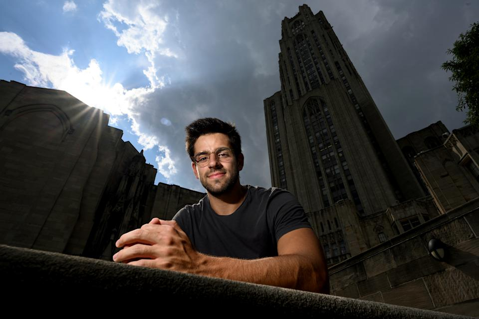Trevor Naman, 19, a sophomore at the University of Pittsburgh, photographed in front of the university's Cathedral of Learning on Aug. 23.
